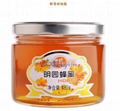 Hexagonal Food Storage Glass Honey Jar with Metal Lug Lid Sdy-X02699