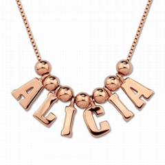 Multiple initial letters necklace in silver name charm pendant necklace