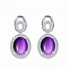 Fashion women cubic zirconia jewelry 925 sterling silver amethyst drop earrings