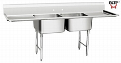 Stainless Steel American Style Sink With Double Sinks and Panels