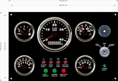 Marine Engine Dashboard with Control Panel Gauges