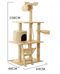 Multilayer Luxury Large Scratching Wood Cat Condo Cat Tree