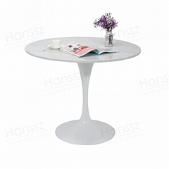 White metal legs marble dining table