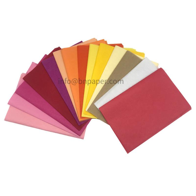 Double smooth 28 colors 17 gsm MF Color/Coloured wrapping tissue paper 4