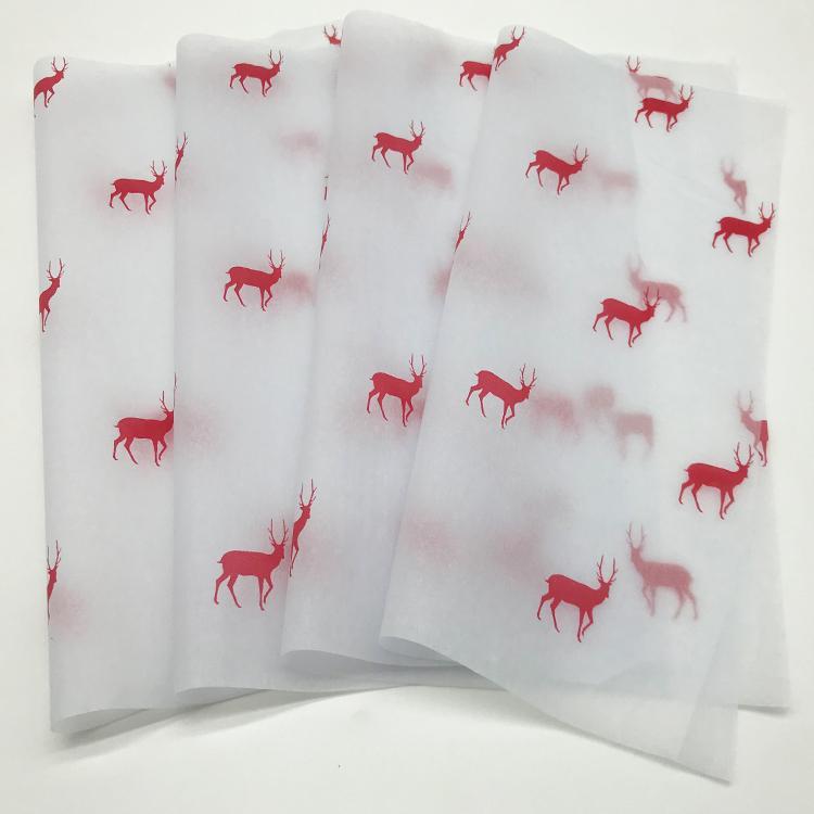 17克印刷红色圣诞小鹿雪梨纸礼品节日包装纸 1