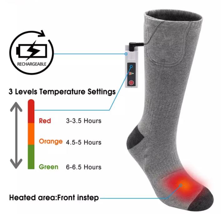 Mens custom cotton crew electric battery heated snowboard socks for Ski  1