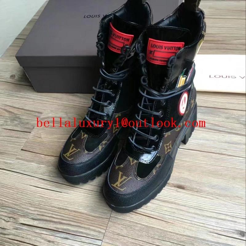 Louis Vuitton Laureate Platform Desert Women Boot lace up fashion boots cheap 7