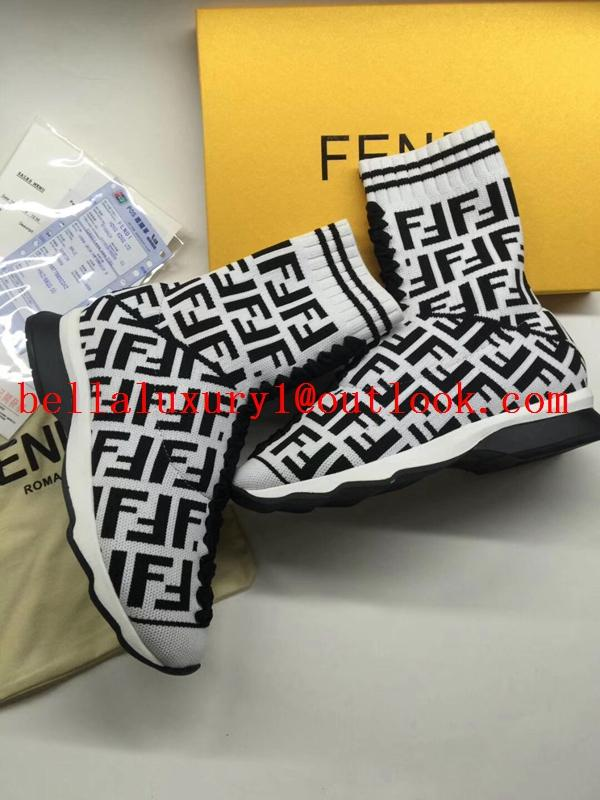 Fendi Spring ladies multicolor stretch knit sports striped high shoes 14
