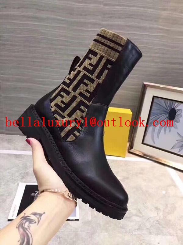 Fendi Spring ladies multicolor stretch knit sports striped high shoes 3