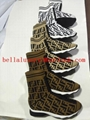 Fendi Spring ladies multicolor stretch knit sports striped high shoes
