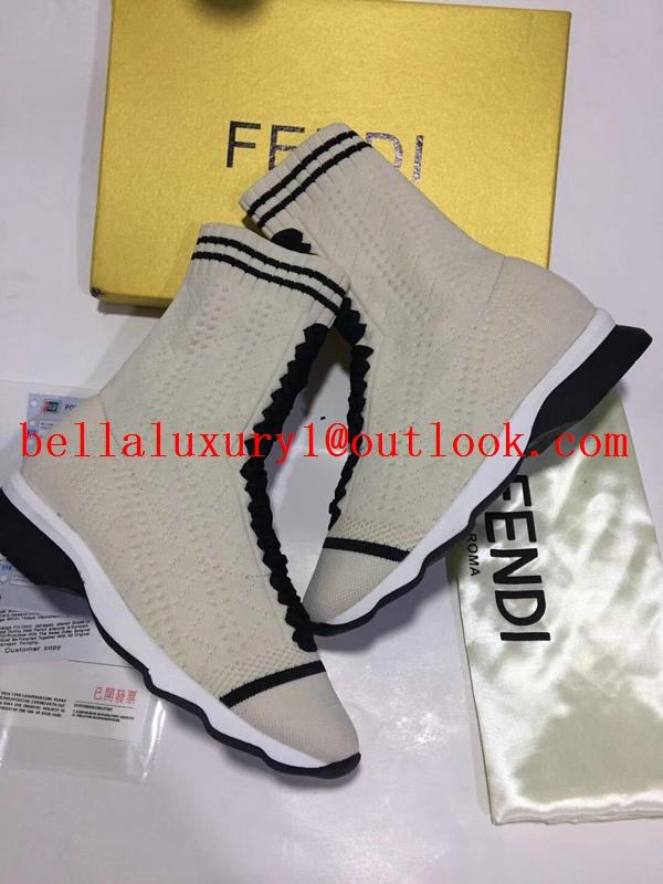 Fendi Spring ladies multicolor stretch knit sports striped high shoes 19