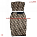 FENDI Stretch jacquard-knit dress FF woven flexible ribbed trims Sweater dress