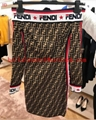 fendi PULLOVER Multicolor fabric FF swester Short-sleeved close-fitting sweater