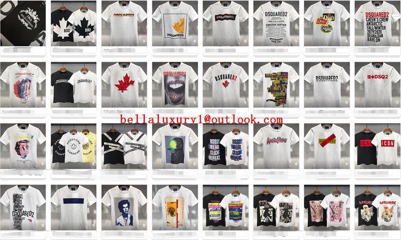 Wholesale DSQUARED2 Men Printed Round neck short sleeve tee T-Shirt Cotton DSQ 1
