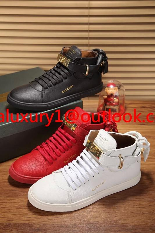 Buscemi 100MM Classic White Leather Gold Lock High Top Sneakers men women shoes