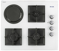 Glass Built-In Hobs / 3 Burners 1 Hot Plate / White