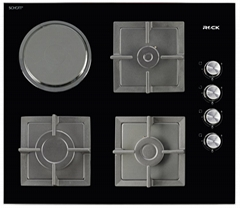 Glass Built-In Hobs 3 Burners 1 Hot Plate Black