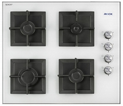 Free Standing Glass Hobs 4 Burners White Square