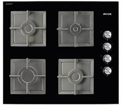 Free Standing Glass Hobs 4 Burners Black Square