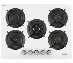 Glass Built-In Hobs 5 Burners White