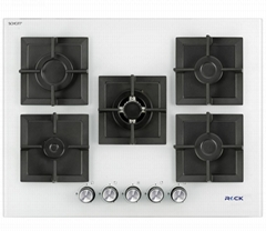 Glass Built-In Hobs 5 Burners White Square