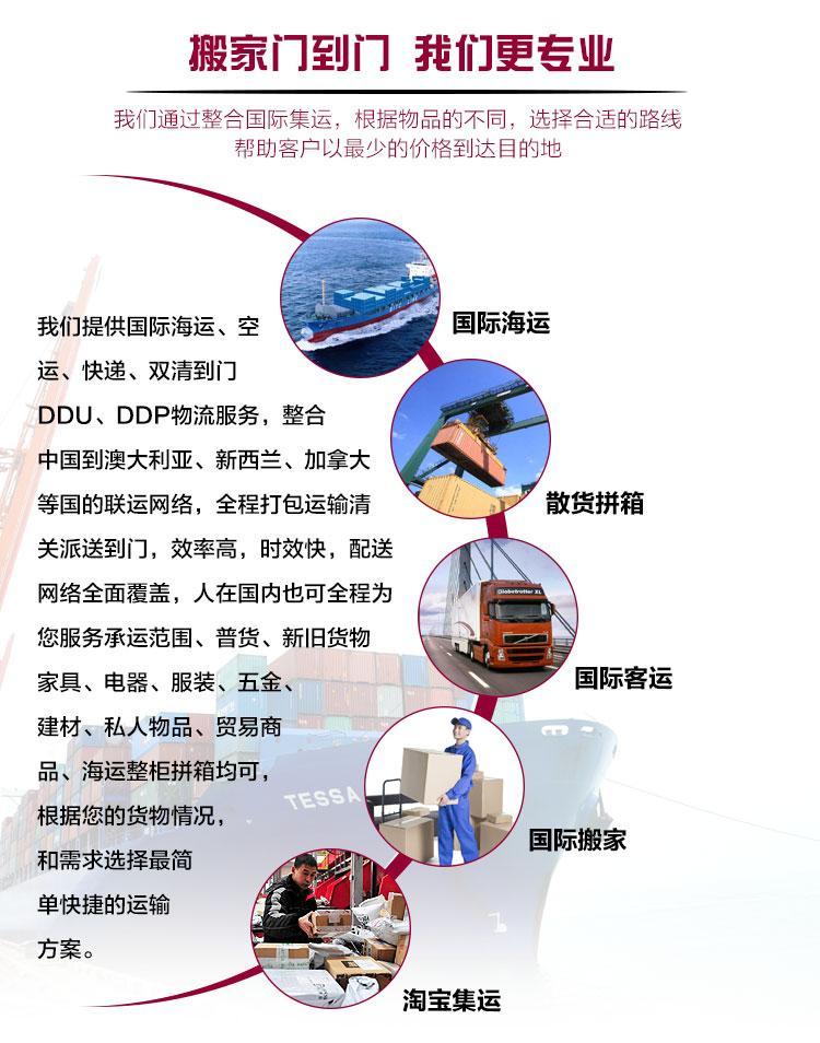 GSC全航国际海运搬家双清到门转运中国到澳大利亚可包税包清关 2