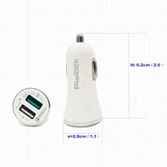 PIEROCK Dual USB 5.4A/30W Fast Car Charger Adapter - QC 3.0 3A + Smart IC 2.4A
