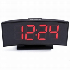 Electronic Alarm mirror Clock Temperature Display Snooze Night Watch