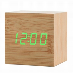 Cube Acoustic Control Wood LED Alarm Clock Table Watch Thermometer