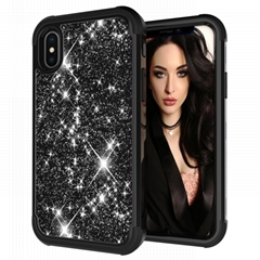 Bling Glitter iPhone XS MAX Silicone and Hard PC Anti Scratch Shell