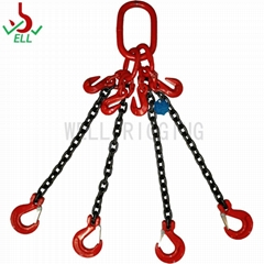 Lifting rigging chain sling 4 legs with swivel selflock hook - G80