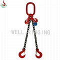2.8T double leg alloy chain sling 8mm  G80 with clevis selflock hook rigging