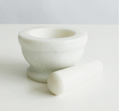Stone Mortar and Pestle Set - Natural Marble Stone Grinder Bowl Holder for Herbs