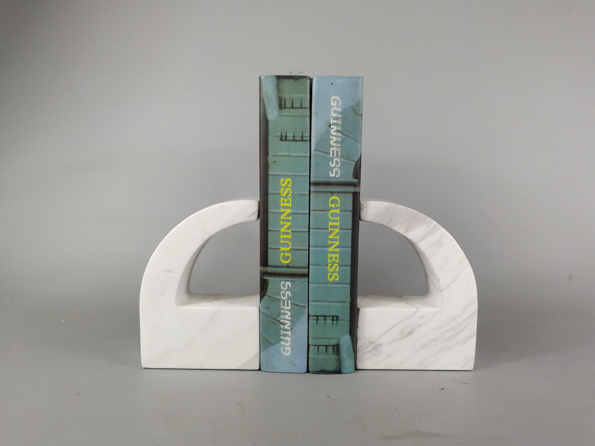 Book organizer office accessories white  marble book stand/bookends