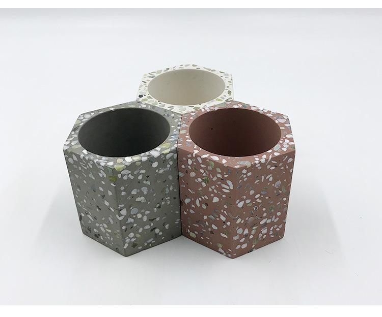 tabletop modern custom terrazzo concrete candle holder 1