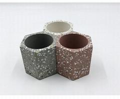 tabletop modern custom terrazzo concrete candle holder