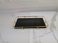 rectangle marble serving tray with gold handle