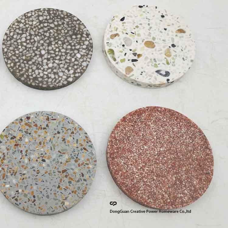 Terrazzo Beige Marble Square Coasters, Set of 4