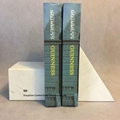 modern triangle white marble bookends,