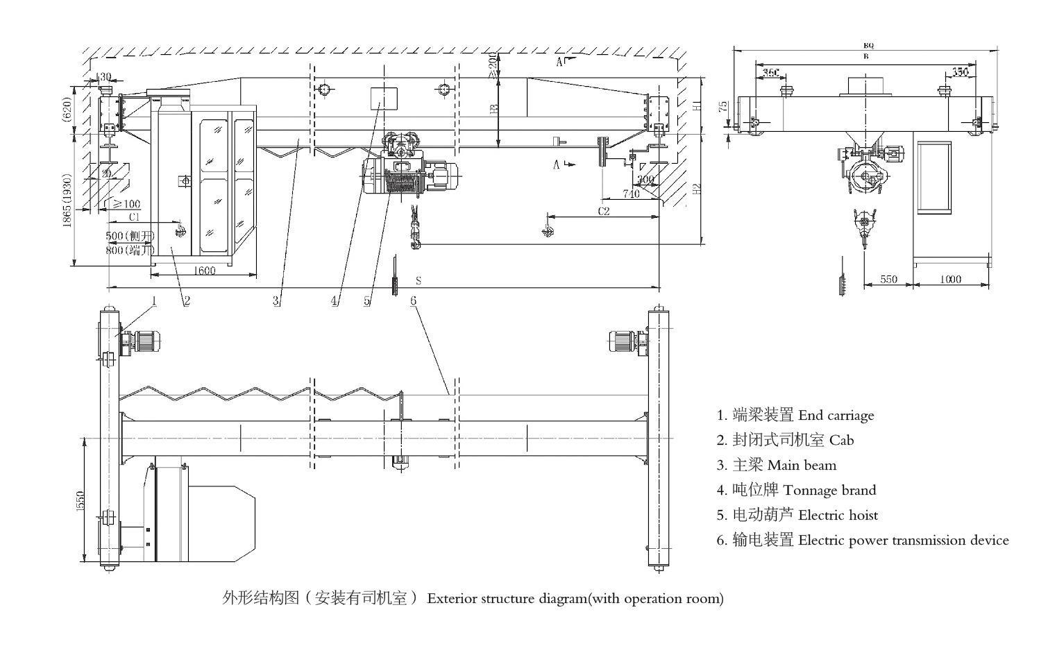 3吨单梁起重机 LDA3T跨度11.5/12/12.5/13米 4
