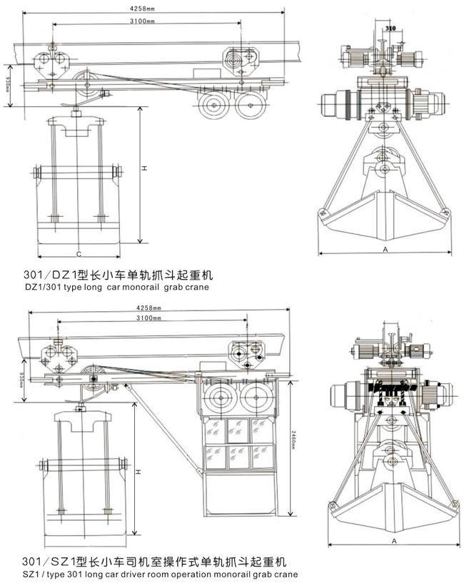 供应电动单轨抓斗起重机  矿山矿源 4