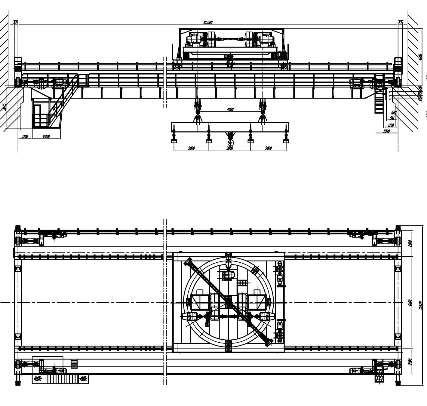 25噸下旋轉伸縮挂梁電磁橋式起重機 4
