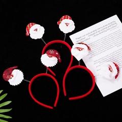 圣诞卡通头头箍发光熊头毛绒节日环保头扣定制成人儿童头箍