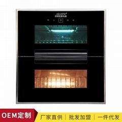 厂家批发玻璃可视窗不锈钢整体拉伸碗架家用消毒柜