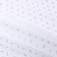 combed hollow out embroidered white cotton eyelet fabric lace