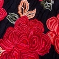 chinese red rose ve  et satin embroidery lace fabric for wedding dress