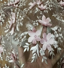 hand french beaded lace fabric embroidery