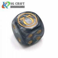 Custom printed dot magnetic polyhedral plastic dice for gambling games