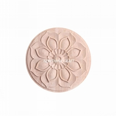 cnc carved wood onlay solid wood carving ornaments wood onlay for furniture