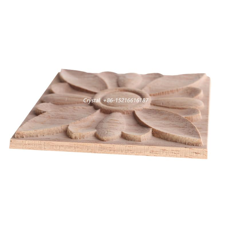 cnc carved wood onlay solid wood carving ornaments wood onlay for furniture 5